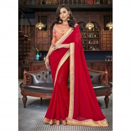 Faux Georgette Border Worked Red Festival Saree