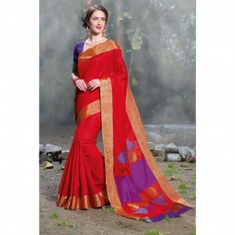 Red Tissue Woven Festival Wear Sarees