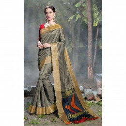 Grey Tissue Woven Festival Wear Sarees