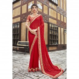 Georgette Embroidered Red Festival Saree