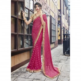 Pink Georgette Embroidered Festival Saree