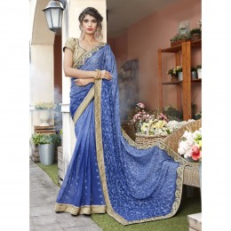 Blue Georgette Embroidered Festival Saree