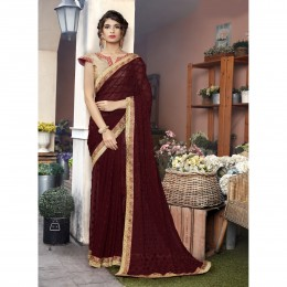 Georgette Embroidered Brown Festival Saree