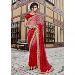 Georgette Embroidered Red Festival Wear Saree