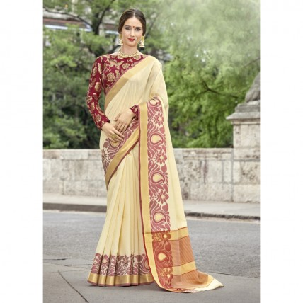 Woven Art Silk Off White Festival Wear Saree