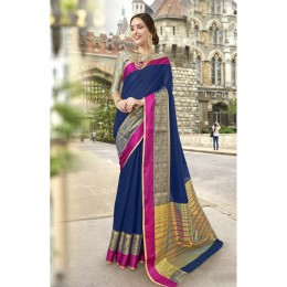 Blue Art Silk Woven Festival Wear Sarees