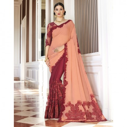 Maroon Faux Georgette Embroidered Party Wear Sarees