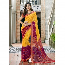 Faux Georgette Printed Casual Wear Saree In Yellow