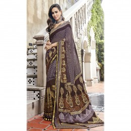 Faux Georgette Printed Casual Wear Saree In Brown