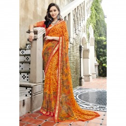Yellow Printed Casual Faux Georgette Saree