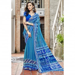 Sky Blue Printed Casual Faux Georgette Saree