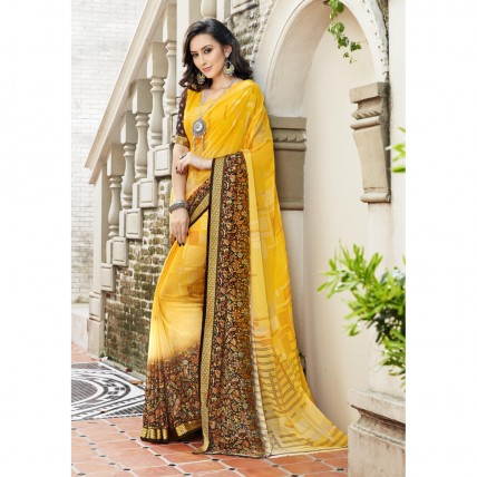 Yellow Casual Faux Georgette Printed Saree
