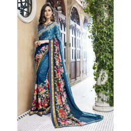 Blue Printed Casual Faux Georgette Saree
