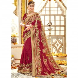 Red Embroidered Faux Georgette Bridal Saree