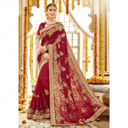 Red Faux Georgette Embroidery Bridal Saree