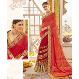 Red Embroidered Georgette Wedding Saree