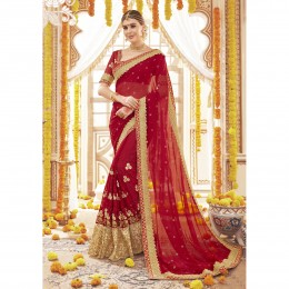 Georgette Embroidered Red Wedding Saree