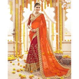 Georgette Embroidery Wedding Saree In Red