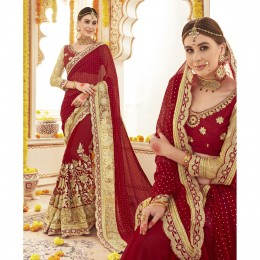Red Georgette Embroidered Saree For Wedding