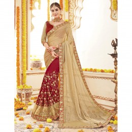 Red Georgette Embroidered Wedding Wear Saree