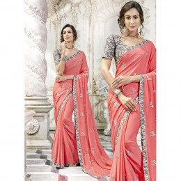 Georgette Embroidered Peach Party Wear Saree