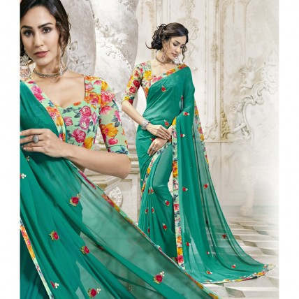 Georgette Embroidered Green Saree For Party
