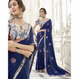 Blue Georgette Embroidered Party Wear Sarees