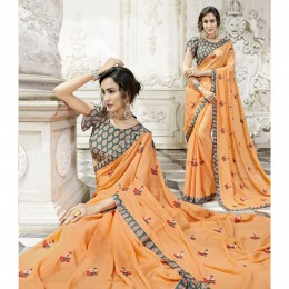 Orange Chiffon Embroidered Party Wear Sarees