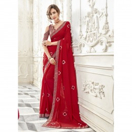 Red Georgette Embroidered Party Wear Sarees