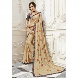 Cream Georgette Embroidered Party Wear Sarees