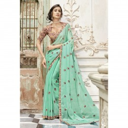 Georgette Embroidered Green Party Wear Saree