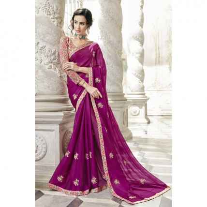 Purple Georgette Embroidered Party Wear Sarees