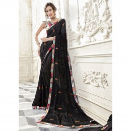 Black Chiffon Embroidered Party Wear Sarees