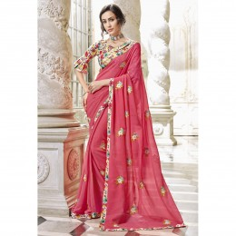 Peach Georgette Embroidered Party Wear Saree