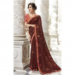 Brown Chiffon Embroidered Party Wear Sarees