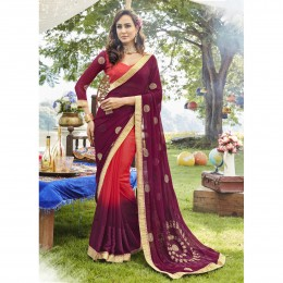 Magenta Georgette Embroidered Casual Wear Sarees