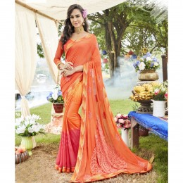 Orange Georgette Embroidered Casual Wear Sarees