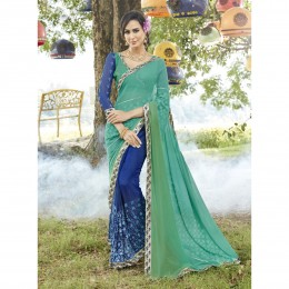 Green Georgette Embroidered Casual Wear Sarees