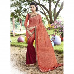 Peach Georgette Embroidered Casual Wear Sarees