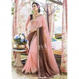 Georgette Embroidered Pink Casual Wear Saree