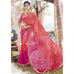 Georgette Embroidered Pink Casual Saree