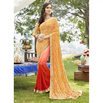 Cream Georgette Embroidered Casual Wear Saree