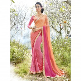 Casual Pink Georgette Embroidered Saree