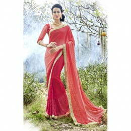 Pink Georgette Embroidered Casual Wear Saree
