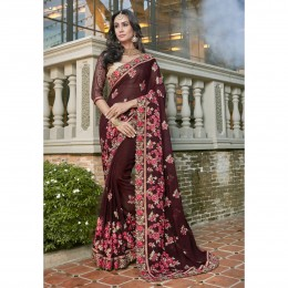 Brown Georgette Embroidered Festival Wear Saree