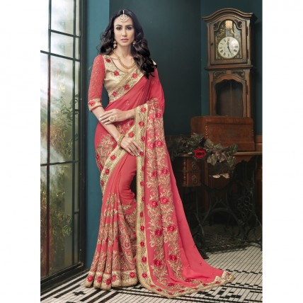 Georgette Embroidered Pink Festive Saree