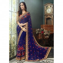 Georgette Embroidered Blue Festive Saree