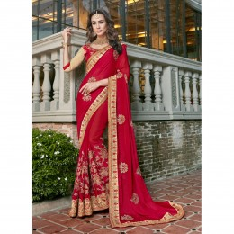 Pink Festival Saree In Georgette Embroidered Pink