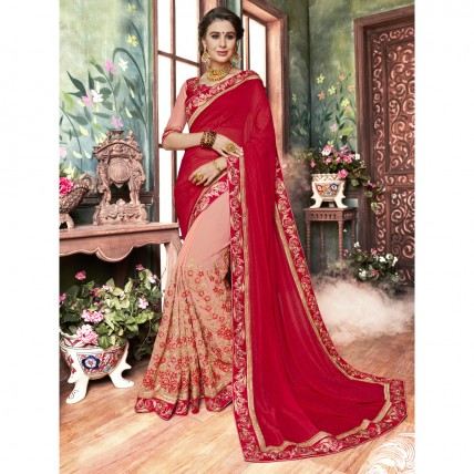 Pink Saree In Embroidered Georgette
