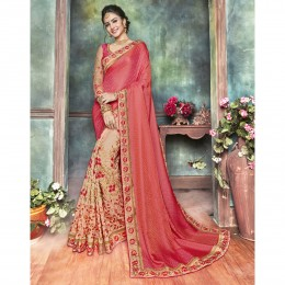 Pink Satin Embroidered Festival Wear Sarees